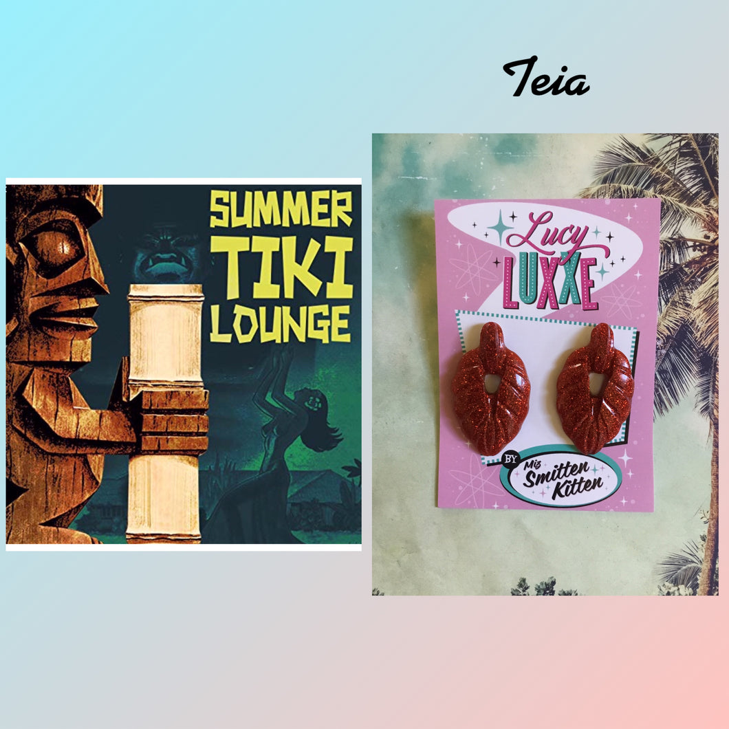 TEIA - tiki lounge earrings - Red glitter