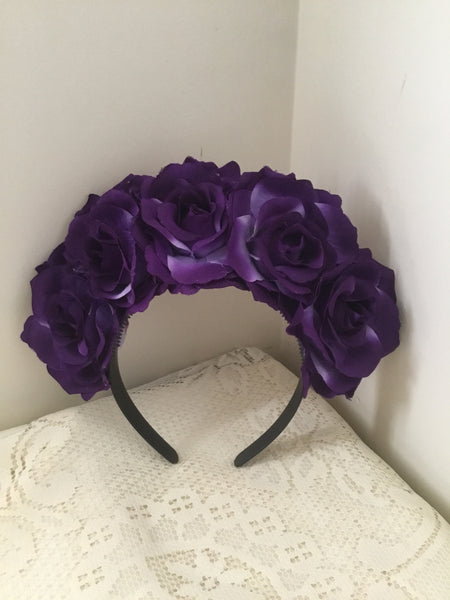 FRIDA .. purple rose flower crown