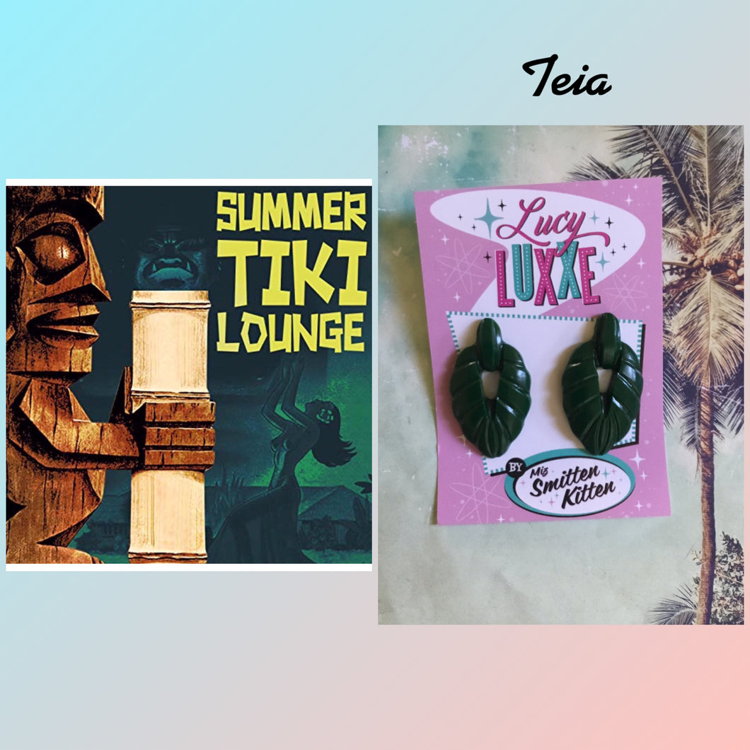 TEIA - tiki lounge earrings - Dark Green