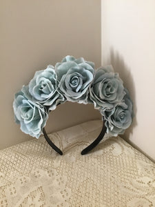 FRIDA - rose flowercrown  - eggshell blue