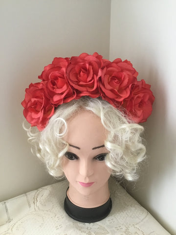 FRIDA .. orange rose flower crown
