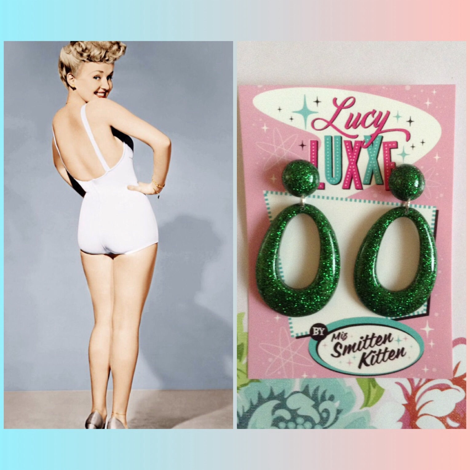 BIG BETTY green glitter hoops
