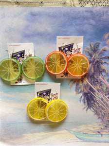 Fruit Slice earrings , lime , lemon , orange  on  hooks