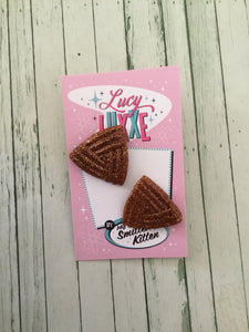 AVA - triangle stud earrings - various glitter  colours