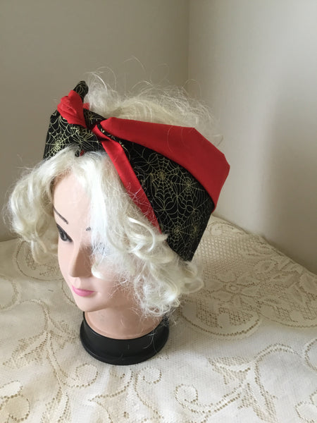 Gold spiderweb .. vintage inspired do-rag .. reversible hair scarf