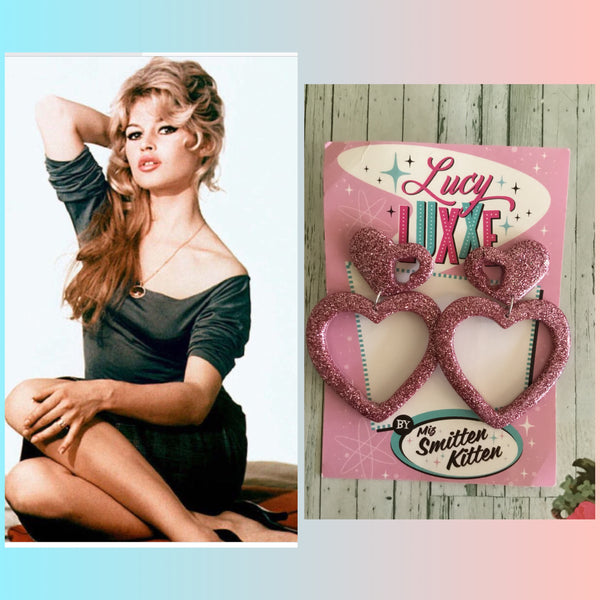 BRIGITTE .. hold my heart pink heart hoop earrings