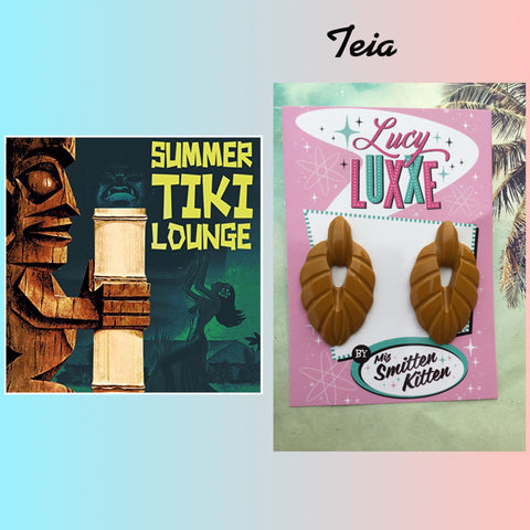 TEIA ..tiki lounge style earrings .. mustard