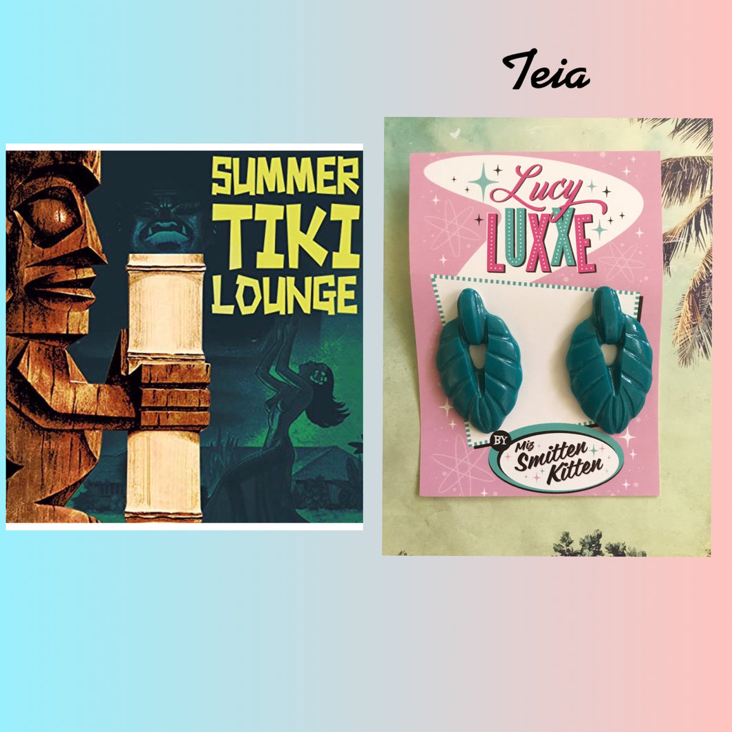 TEIA - Tiki lounge earrings - Teal