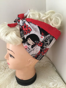 JAPANESE DOLL - vintage inspired do-rag - black