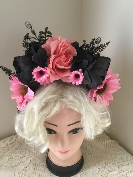 SOPHIA.. shades of black and pink  ...flower crown ..FREE POSTAGE (aust ) on checkout