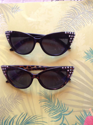Cats's eye sunglasses crystal tips