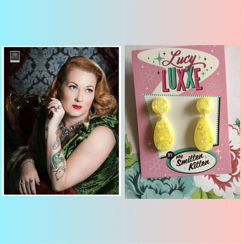BREE .. vintage inspired confetti lucite earrings ..yellow