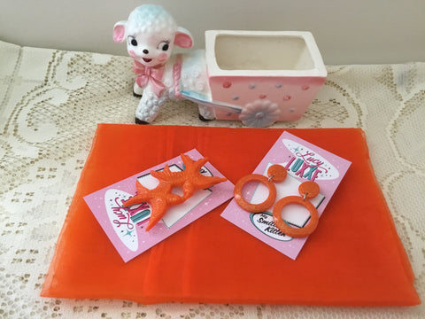 Pinup starter pack ..ORANGE .. scarf , earrings & brooch