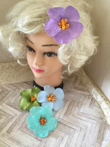Hibiscus .. foam single flower hair clip ... various  pastel colours ... hand painted