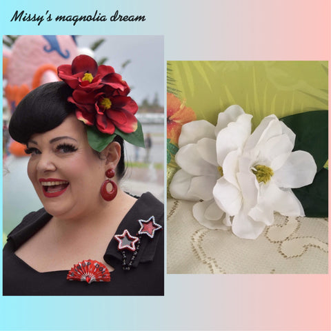 Missy's magnolia dream ... double magnolia cluster hairflower ...WHITE