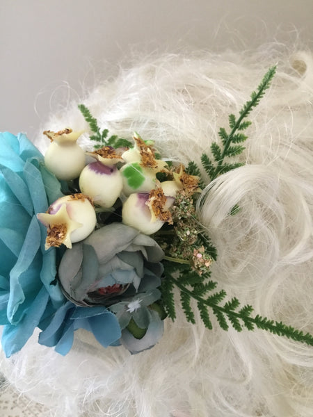 PEGGY SUE .. blue flower cluster with pomegranates... vintage inspired