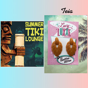TEIA ..tiki lounge style earrings ...dark butterscotch