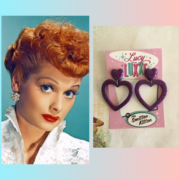 LUCILLE .... love yourself heart hoope earrings ... purple