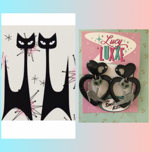ATOMIC CAT - big  heart earrings - silver