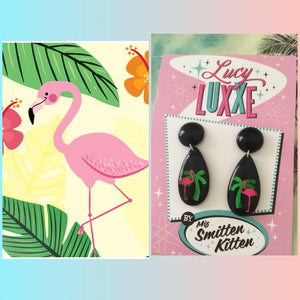 Tropical flamingo earrings ... tiki time
