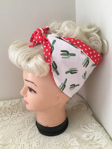 SOUTH OF THE BOARDER CACTUS 🌵- vintage inspired do-rag