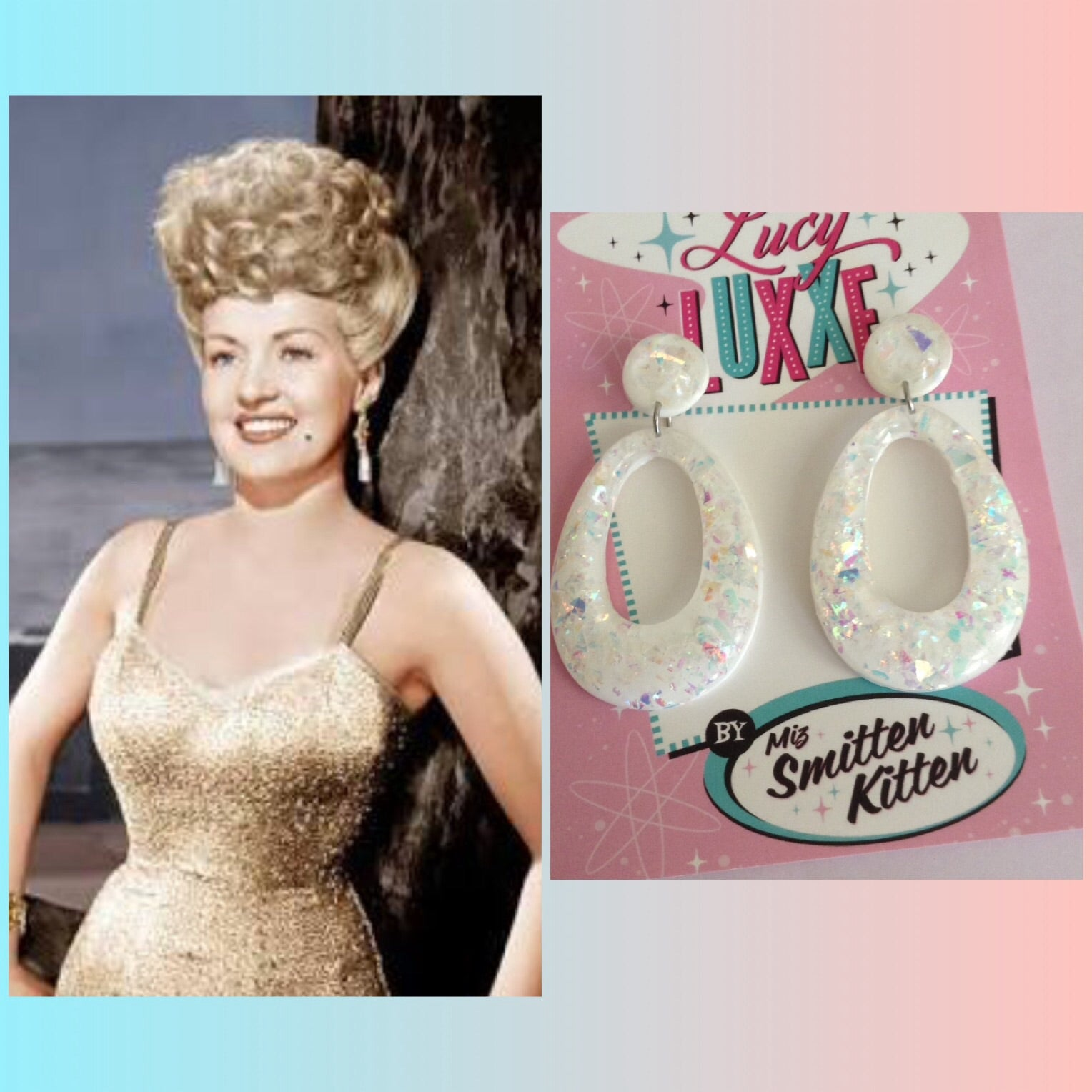 BIG BETTY White confetti lucite hoops