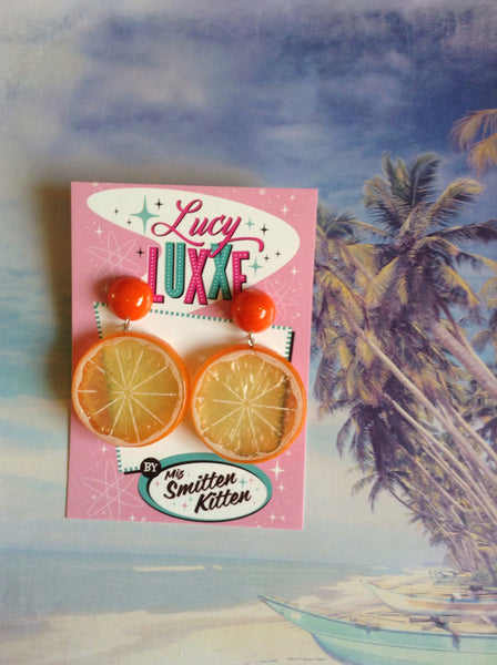 Tutti fruitti Orange fruit slice earrings with resin dome