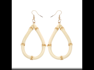 TEARDROP shaped bamboo earrings - hoops