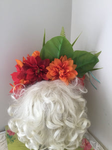 ALISSA - Beautiful tropical flowercrown ,with a gorgeous removable budgie bird