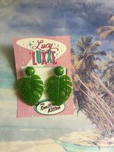 Load image into Gallery viewer, MISS KATE tiki queen - monstera leaf earrings - Lime green