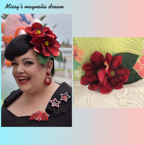 Missy's magnolia dream ... double magnolia cluster hairflower ... RED