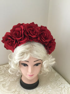 FRIDA ... red rose  flower crown