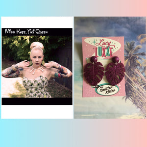 MISS KATE tiki queen - monstera leaf earrings - Purple glitter
