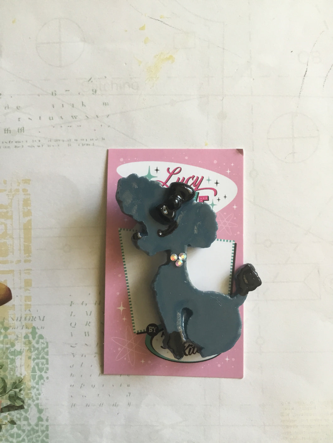 Penny the poodle brooch - large - grey/ blue - SECONDS
