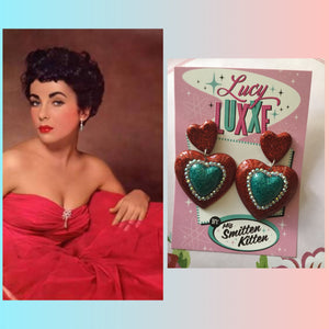 ELIZABETH ..DOUBLE QUEEN OF HEARTS EARRINGS red with teal