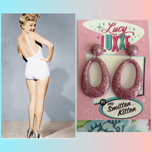 Load image into Gallery viewer, BIG BETTY - pink glitter hoops