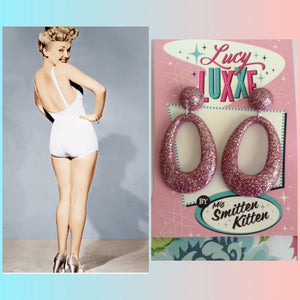 BIG BETTY - pink glitter hoops