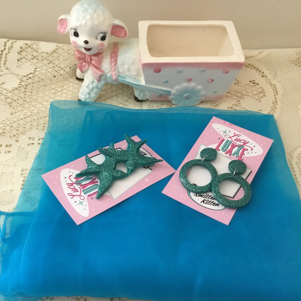Pinup starter pack ..TEAL .. scarf , earrings & brooch