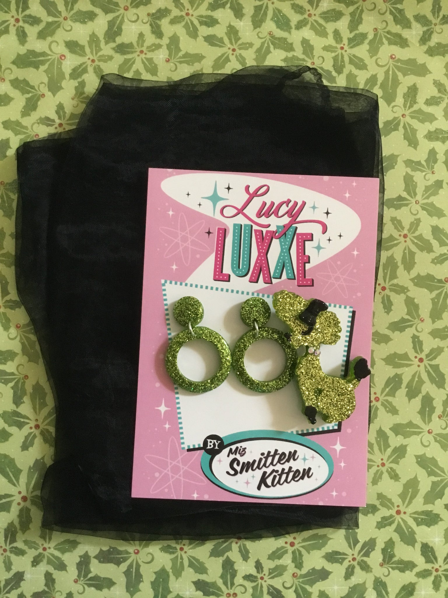 Poodle gift pack ... brooch earrings .. scarf .. green / gold glitter  ..save $10