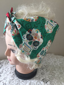 Sugar skull . Vintage inspired do-rag red or black ..reversible hair scarf