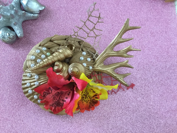 MERMAID COVE .. bespoke shell cluster fascinator.. red / yellow orchids