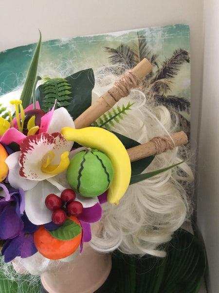 JOSEPHINE ... large tropical cluster hair clip with bamboo