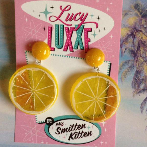 Tutti fruitti Lemon fruit slice earrings with resin dome