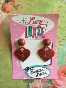 Locket earrings with dome top - Red or Green
