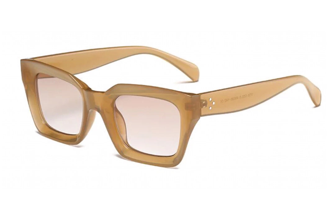 Retro square frame sunglasses - CHAMPAGNE