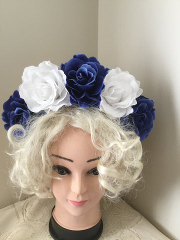 FRIDA ... blue and white rose flower crown