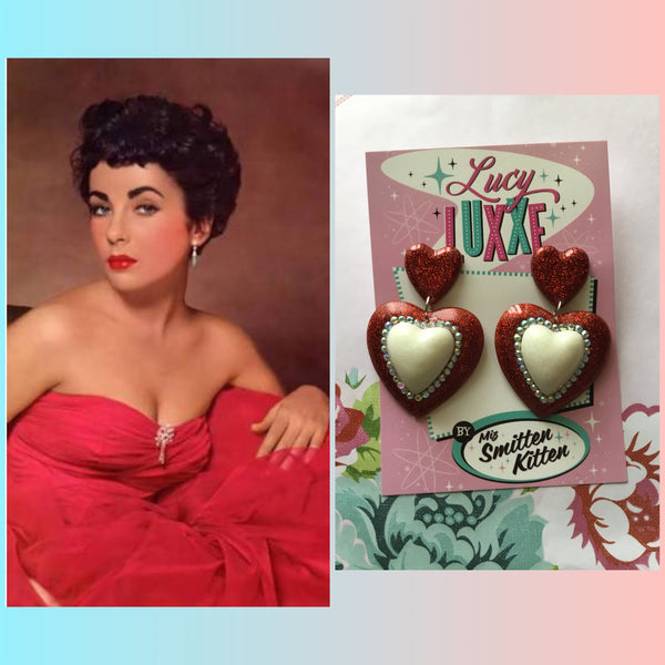 ELIZABETH..DOUBLE  QUEEN OF HEART EARRINGS ... red with white