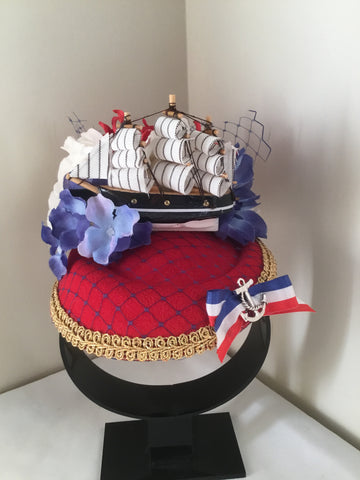 SHIP AHOY .. nautical inspired fascinator/ pillbox hat