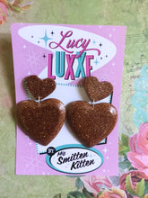 Load image into Gallery viewer, QUEEN OF HEARTS - glitter heart earrings - Bronze