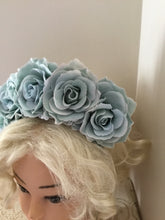 Load image into Gallery viewer, FRIDA - rose flowercrown  - eggshell blue